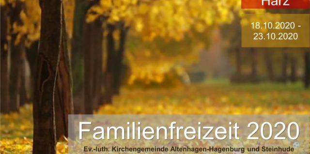 Familienfreizeit in den Herbstferien vom 18. – 23. Oktober 2020